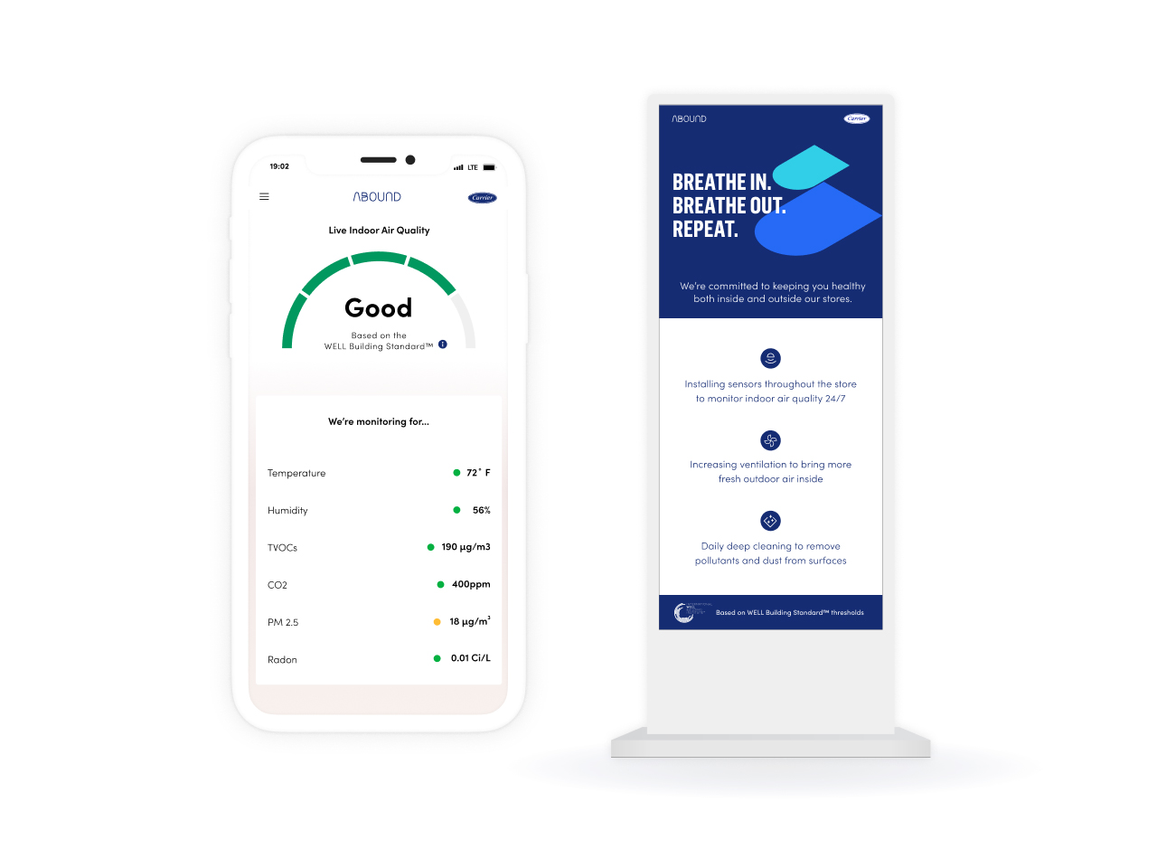 Abound will allow building owners to communicate building health strategies, health performance metrics, or the live indoor air quality summary to occupants through digital displays, mobile applications, or existing digital experiences.