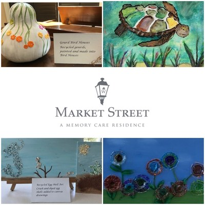 The 2nd Annual 'Go Green' Art Show at Market Street Memory Care Residence Viera celebrated Earth Day with a diverse array of creatively recycled art mediums.