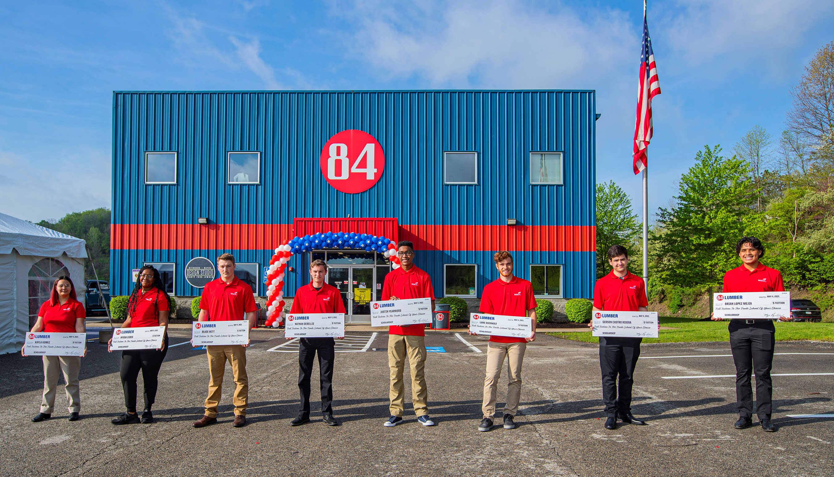 84 Lumber celebrated high school seniors entering the skilled trades and surprised 10 students with scholarships, totaling $50,000, towards the trade school of their choosing.