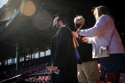Bentley University celebrates the Class of 2021 with a commencement ceremony at historic Fenway Park, the first college commencement held at the ballpark,
