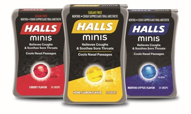 HALLS minis are available in three refreshing flavors: Cherry, Honey Lemon and Mentho-lyptus™.