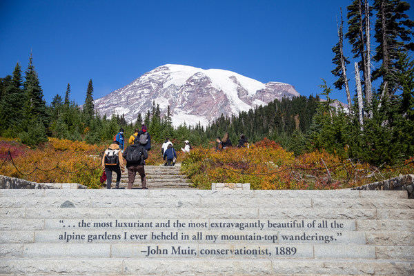 Skyline Trail at Paradise at Mount Rainier National Park is filled with fall colors.